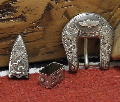 RARE Ltd Edition Al Beres Marked STERLING SILVER OVERLAY Buckle Set by Wage's