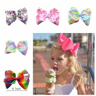 8 inch Girl Rainbow Bows Hairpin large rib Grosgrain Ribbon Bow Hair Clip Baby**