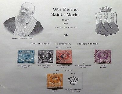 Lot 4 early San Marino  stamp mint used hinged to 19th C album page