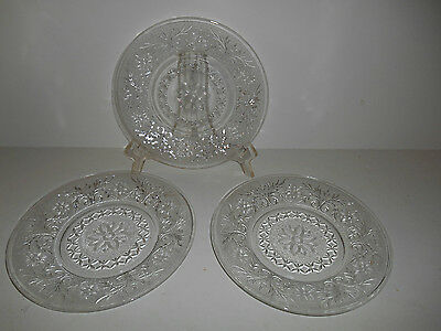"""Set of 3 Crystal Sandwich 8"""" Luncheon Plates  by Anchor Hocking"""