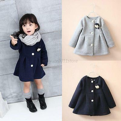 Baby Girls Autumn Winter Button Long Sleeve Hooded Coat Outerwear Toddler Jacket