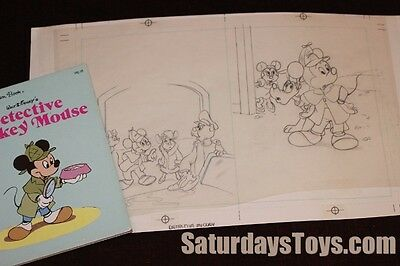 1985 Walt Disney Golden Book ORIGINAL PENCIL ART Detective Mickey Mouse pg 12 13