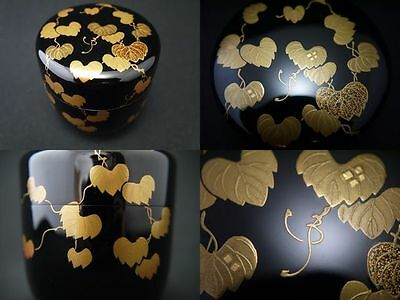Japanese Traditional Lacquer Wooden Tea caddy IVY design makie O-Natsume (sp)