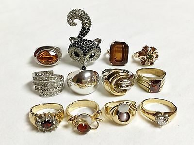 Lot Of 12 Elegant Cocktail Style Costume Jewelry Gold Silver Tone Gemstone Rings