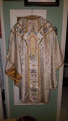 MARIAN EMBROIDERED CHASUBLE, SILK HAND DONE embroidery, Silk Fabric