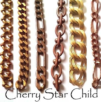 50cm Vintage un-used antiqued brass chain 40's-50's lge sm links findings rare