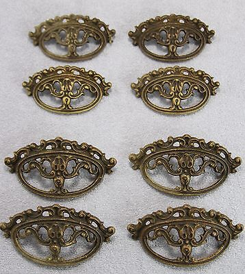As A Lot 8Pcs Vintage Cast Brass Drawer Pulls Hardware Fancy Scrolled 2 Sizes