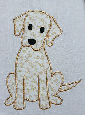 Labrador Puppy (White/Latte)~ Embroidered Applique Quilt Block/Panel