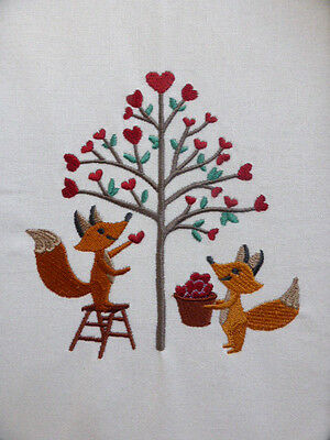 Foxy Love with a Tree full of Hearts ~ Embroidered Quilt Block/Panel