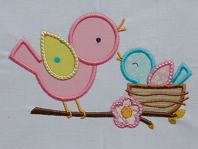 Bird & Chick in Nest ~ Embroidered Applique Quilt Block/Panel