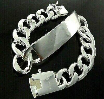 A740 Genuine Real Sterling Silver S/f Solid Mens Id Initial Cuff Bracelet Bangle