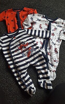 Set of 3 Boys sleepsuits 3-6 months