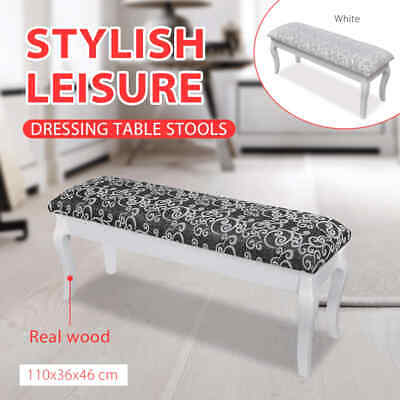 Bedroom 2 Seater Bench Stool Chair for Dressing Table Cushion Hocker Black/White