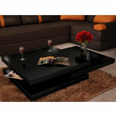 New Modern Coffee Table High Gloss Finish Black 3 Layers Extendable Living Room