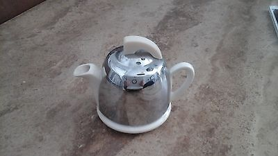 Vintage Miniature Toy Teapot Cream Jug White China With Metal Cover