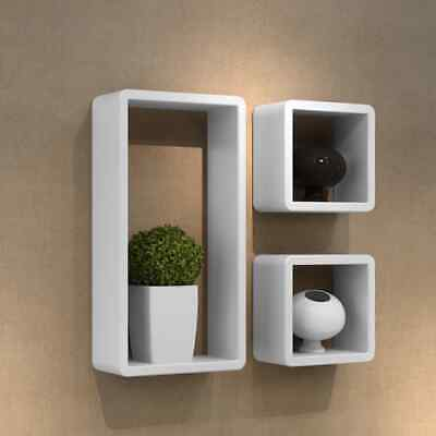 Wall Floating Cube Shelf 3pc Set Wooden Storage Shelves Shop Display Bookshelf