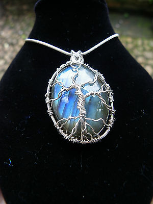 Magical Labradorite Sterling Silver Tree Of Life Pendant Protection Necklace