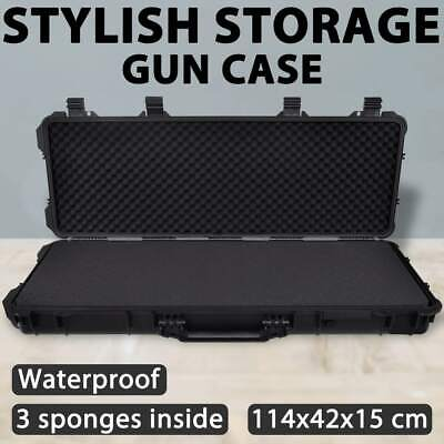 New Gun Case Portable Box Rifle Hunting Shotgun Wheel Hard Trolley Carry 114cm