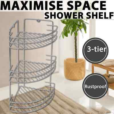 Bath Shelf 3 Tier Shower Caddy Chrome Organiser Shelves Storage Rack Bathroom