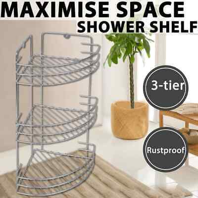 3 Tier Bamboo Bathroom Shelf Corner Shower Caddy Shelves Organiser