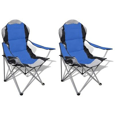 2X Folding Outdoor Travel Camping Fishing Chair PVC Coating Seat Arm Picnic Blue