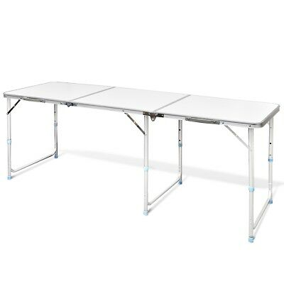 New Outdoor Camping Table 180x60cm Folding Picnic Aluminium MDF Garden BBQ Party