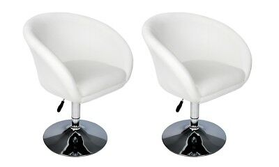2X PU Faux Leather Bar Stool Kitchen Dining Arm Chair Sofa Gas Lift White Chrome