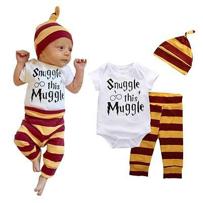 3PCS Newborn Infant Baby Boy Girl Romper T-Shirt Hat Pants Clothes Outfits Set