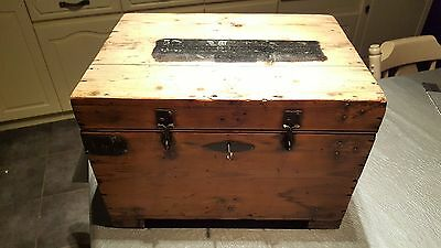 Nice old pine storage box toy chest with two original hand forged keys