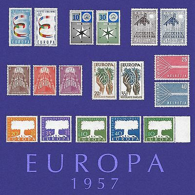Europa 1957 Mint Full Set Stamps inc Key Set Luxembourg and W Germany W/M Margin
