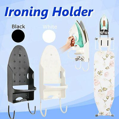 Ironing Board Holder Cupboard Door Wall Mount Storage Rack Black for Home Hotel