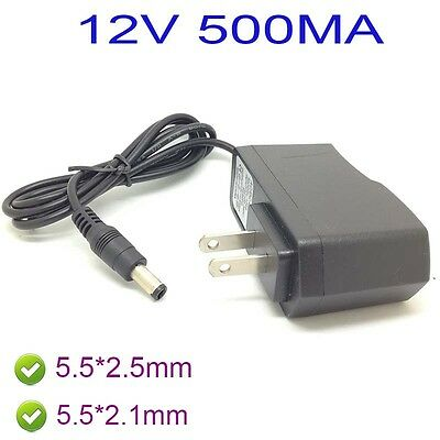US AC 100-240V  Adapter DC 12V 500mA 0.5A Power Supply  charger 5.5 x 2.5MM /SX
