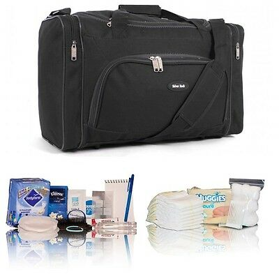 Black pre-packed hospital/maternity bag new mum to be & baby shower newborn gift