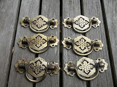 Six Vintage Reclaimed Brass  Drawer Handles