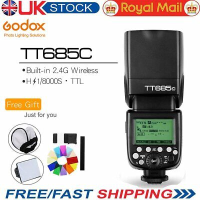 UK Plug Godox TT685C 2.4G 1/8000s E-TTL GN60 Wireless Speedlite Flashe for Canon