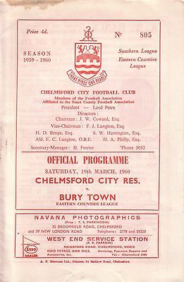 CHELMSFORD CITY RES v BURY TOWN 1959/60 EASTERN COUNTIES LEAGUE