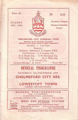 CHELMSFORD CITY RES v LOWESTOFT TOWN 1959/60 EASTERN COUNTIES LEAGUE