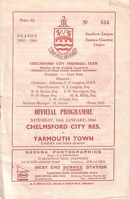 CHELMSFORD CITY RES v YARMOUTH TOWN 1959/60 EASTERN COUNTIES LEAGUE