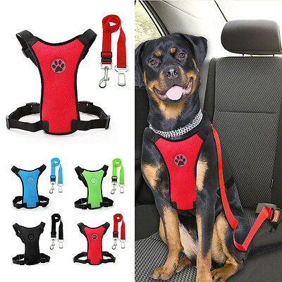 Breathable Air Mesh Dog Car Harness + Seat belt Clip Lead For Dogs S M L New