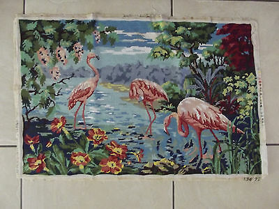 Large Vintage French Completed Tapestry Flamingoes Birds Flowers