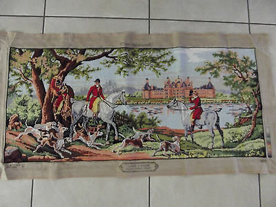 Vintage French Completed Cross Stitch Tapestry Hunting Scene English Dogs Horse