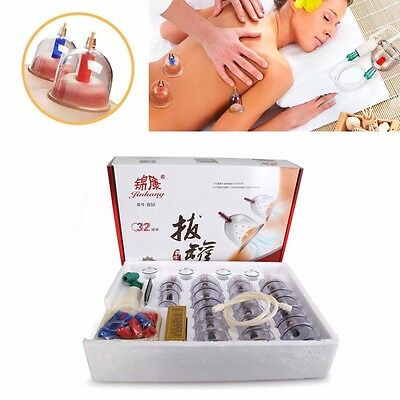 18/32 Cups Cupping Set Slimming Body Massage Medical Chinese Vacuum Pump Suction