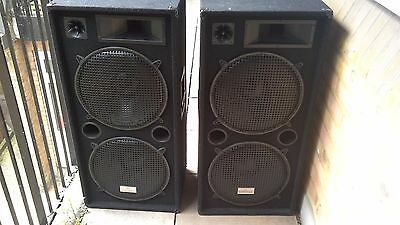 "PAIR 15"" DUAL BASS DJ PA 3 WAY DISCO SPEAKERS 2 x 1500W"