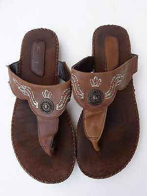 Womens brown leather flip flops, size 5 1/2 (38)