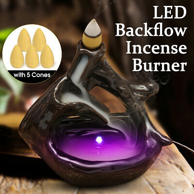 Black LED Backflow Ceramic Incense Burner Flowing Water Cone Holder with 5 Cones