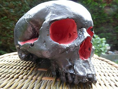 Plaster painted half skull, gothic, black, red, human, scary, horror, prop,