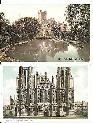 COLLECTABLE,RARE,LOVLEY EARLY VINTAGE POSTCARD x 2 OF WELLS CATHEDRAL SOMERSET