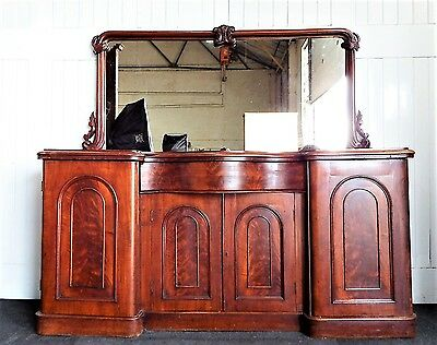Antique Victorian serpentine flame mahogany mirror back sideboard