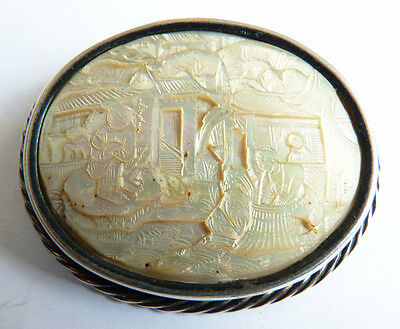 Broche argent massif + nacre sculptée Chine China ancien silver brooch