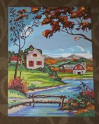 House & Barn With Fall Colors- Paint By Number-Vintage-12X16